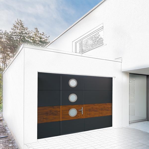 Porte de garage couleur bois et noir
